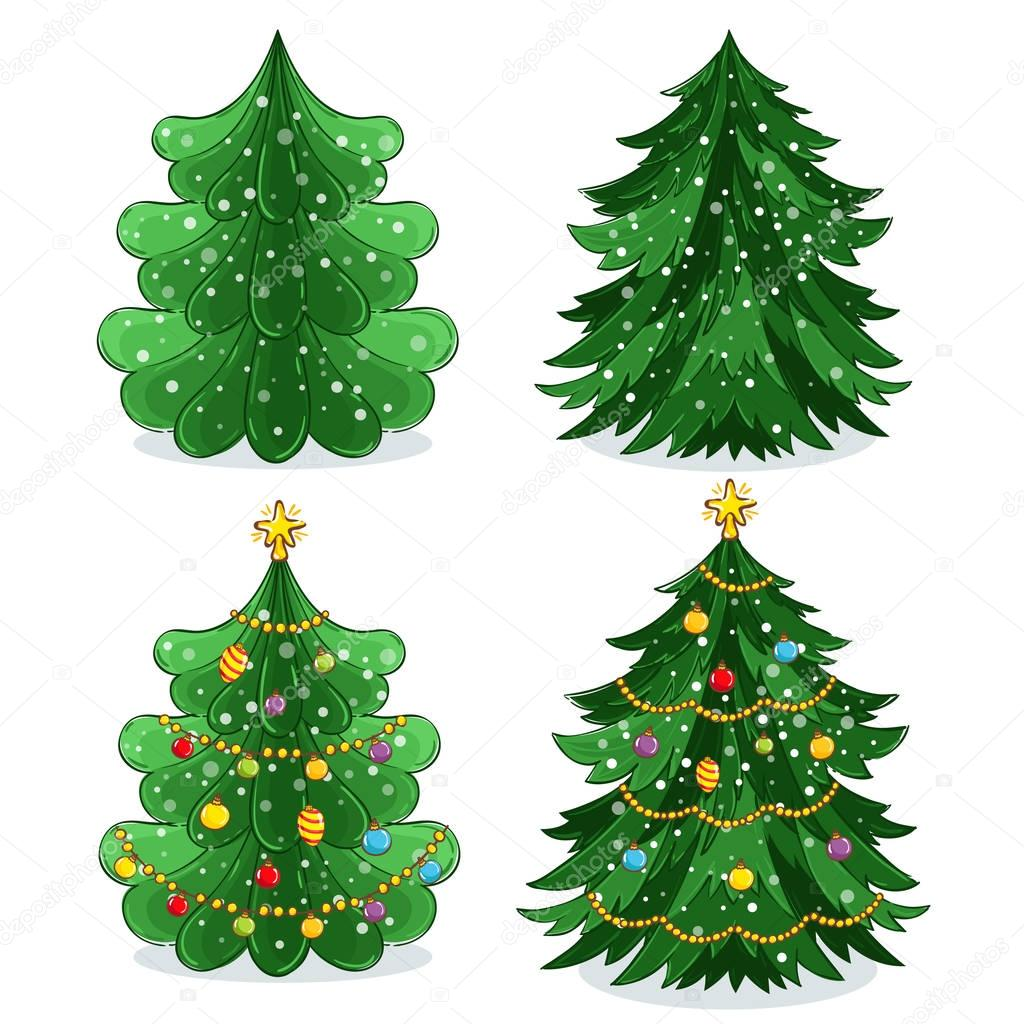 Rbol navidad verde en estilo de dibujos animados for Arbol navidad verde