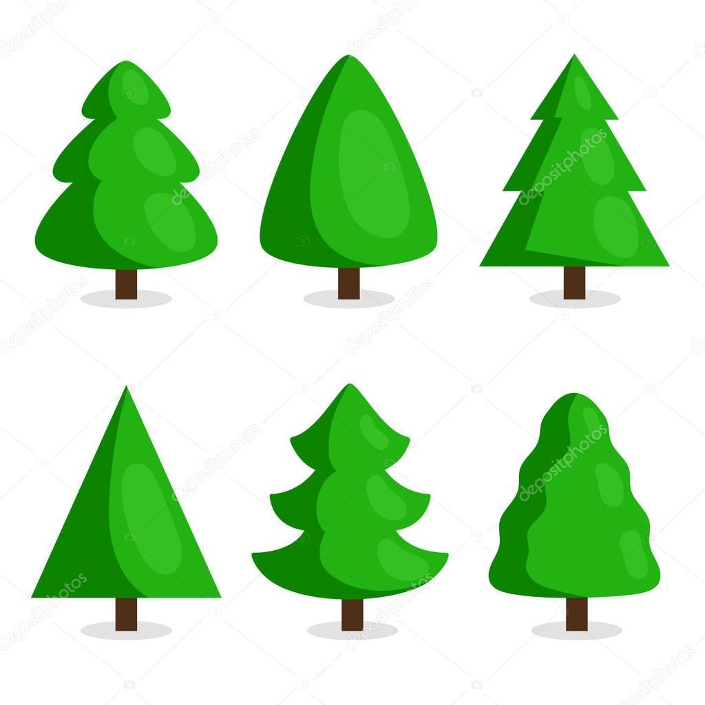 Animado Arbol Pino árbol Navidad Verde En Estilo De Dibujos