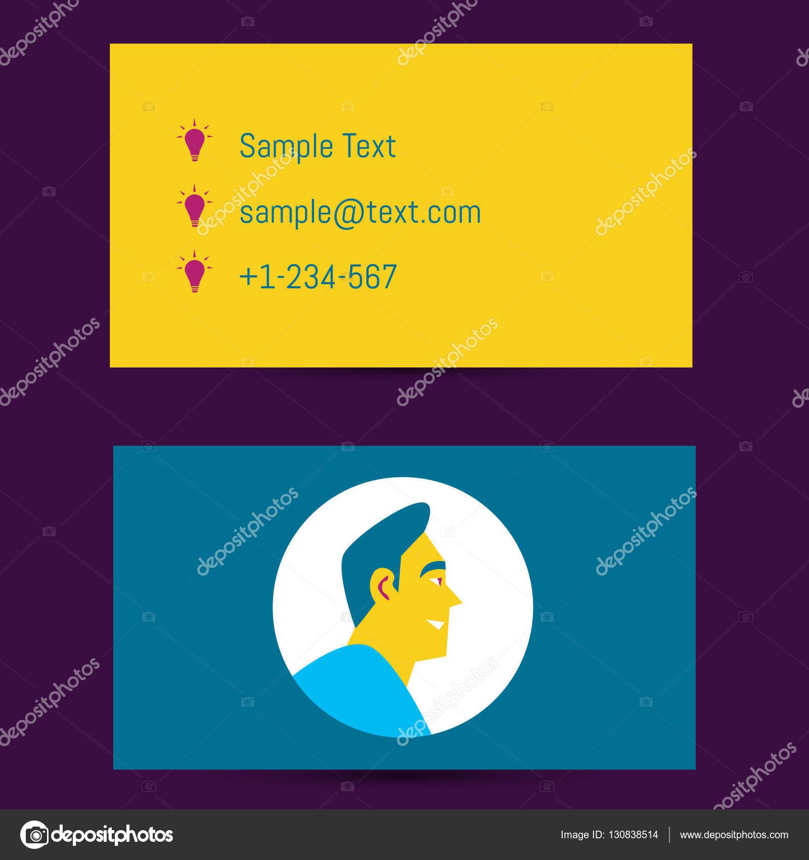 Modele De Carte Visite Avec Avatar Homme Illustration Stock