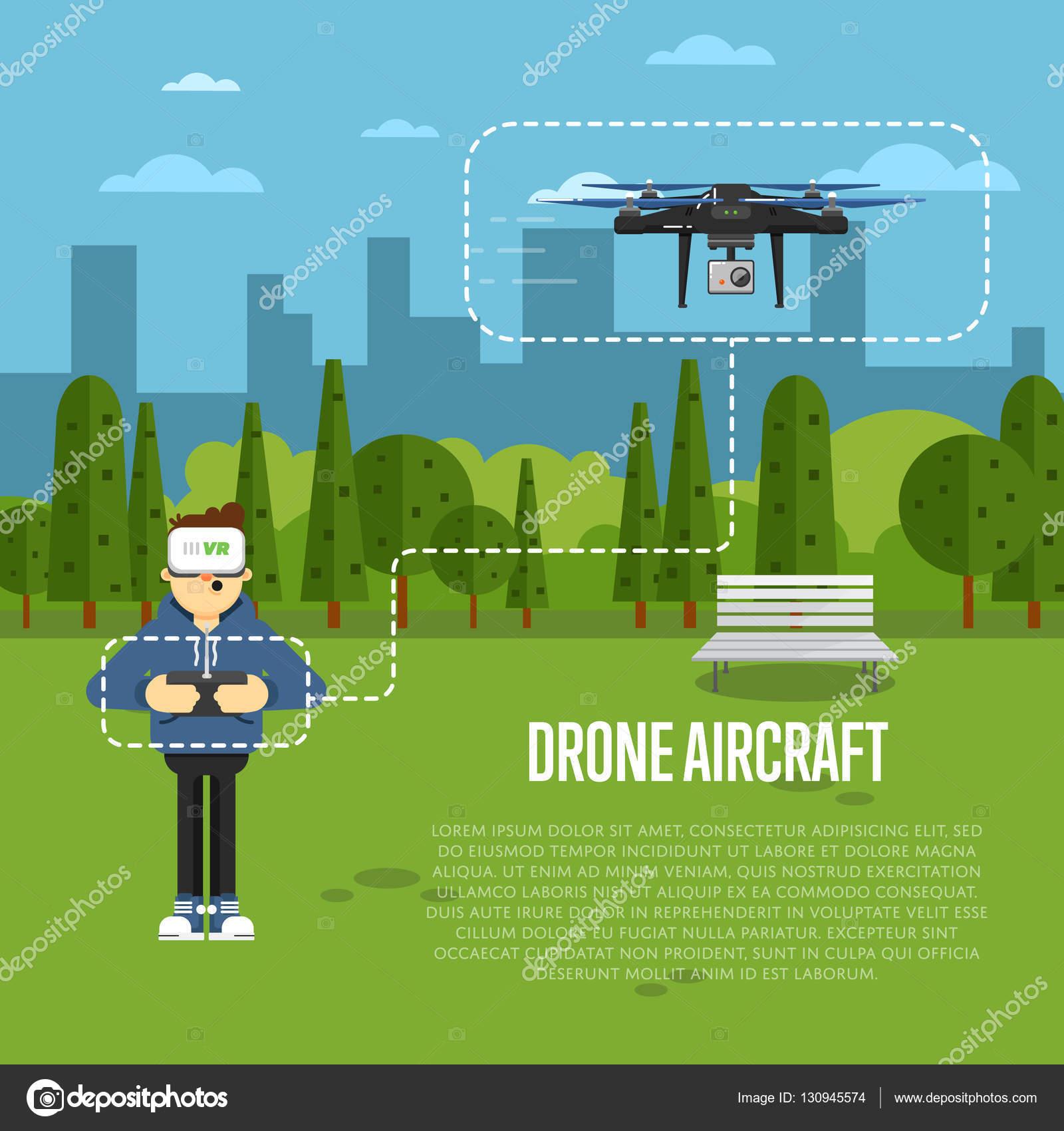 Modèle d\'avion drone avec flying robot — Image vectorielle ...