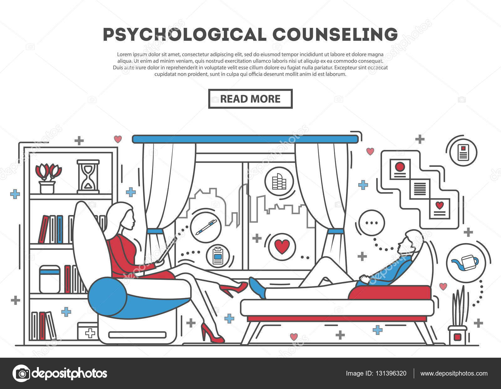 Psychological counseling website template — Stock Vector ...