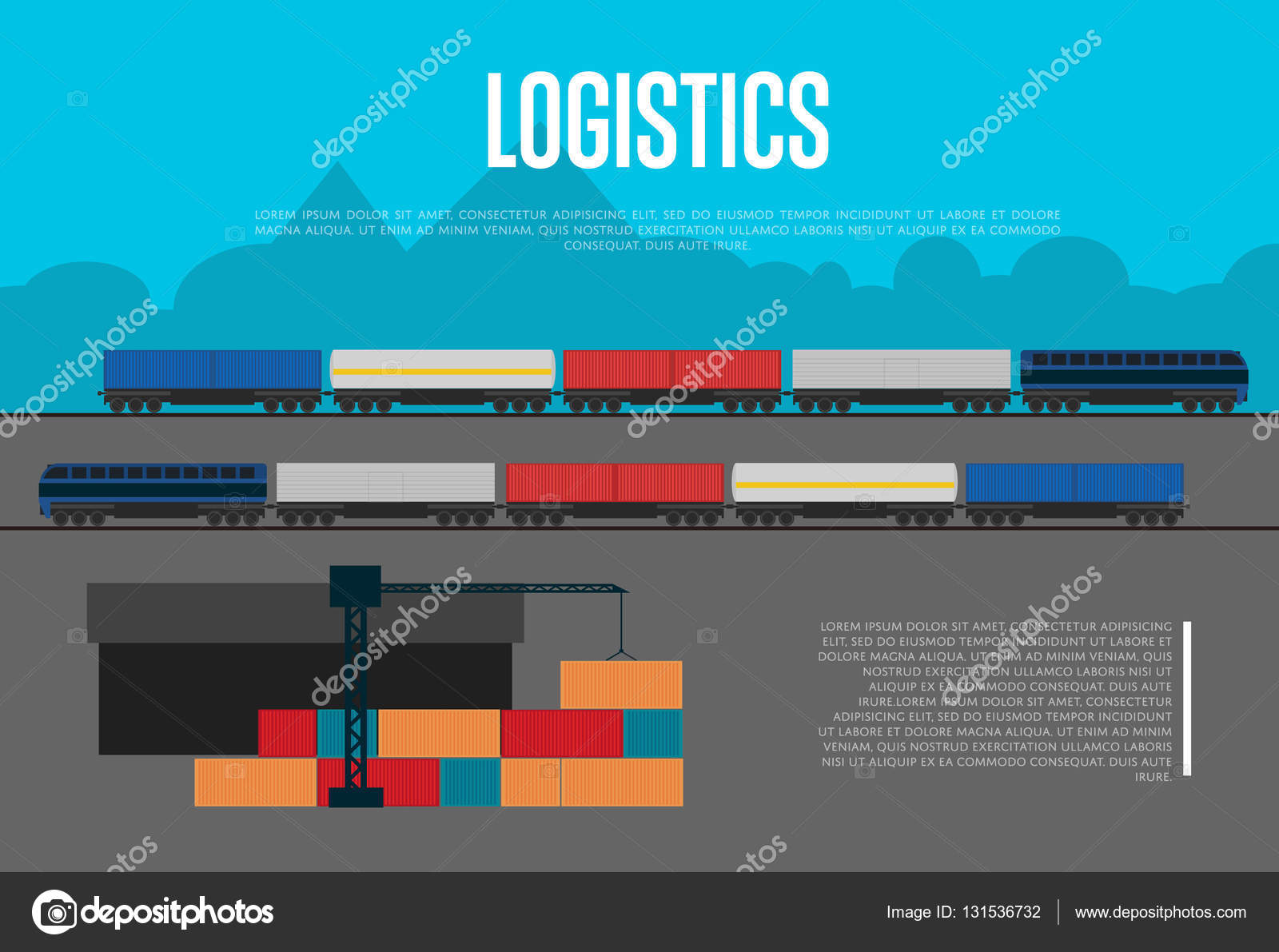 Logistics banner with freight train — Stock Vector