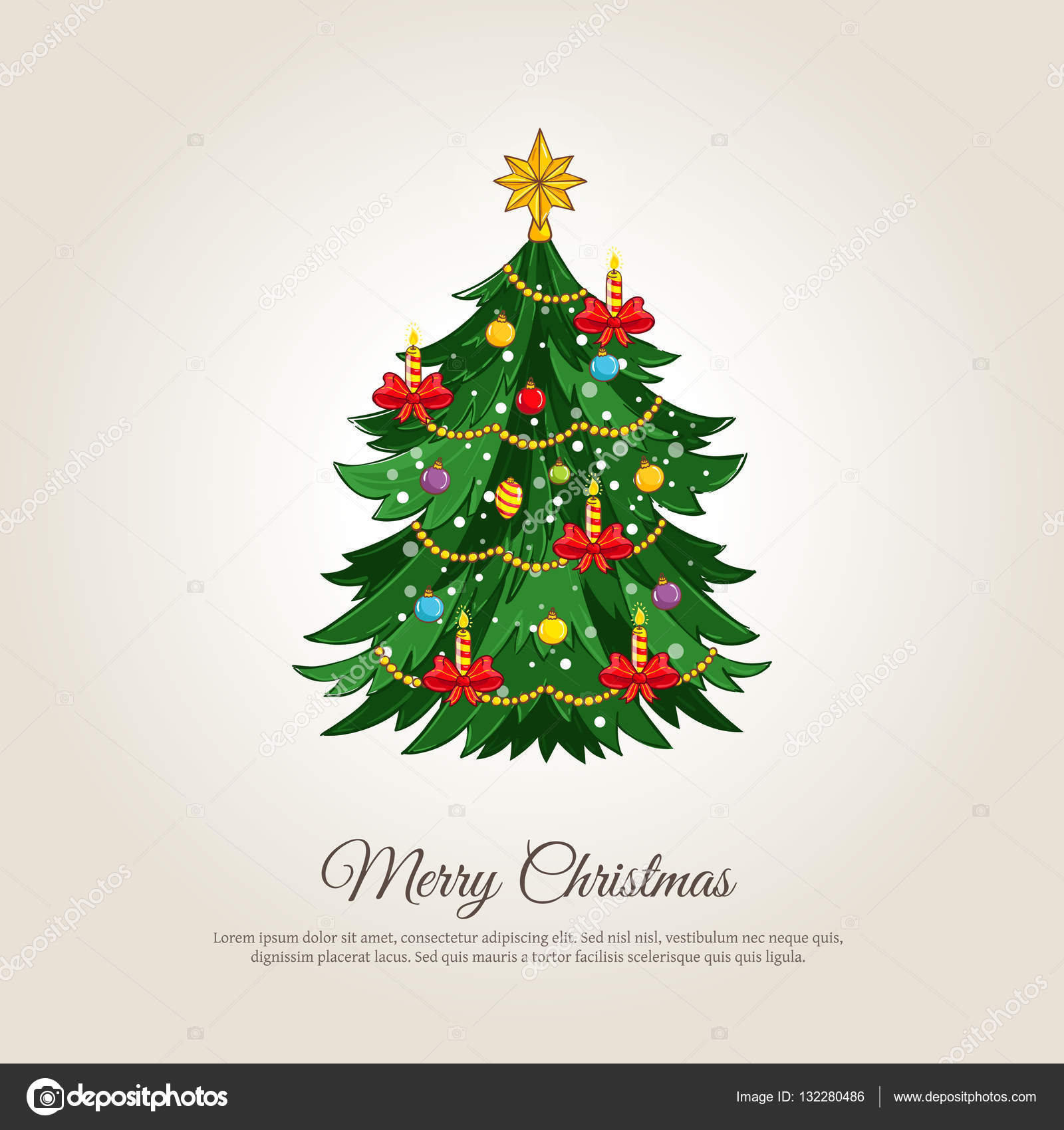 Christmas Banner.Merry Christmas Banner With Decorated Xmas Tree Stock