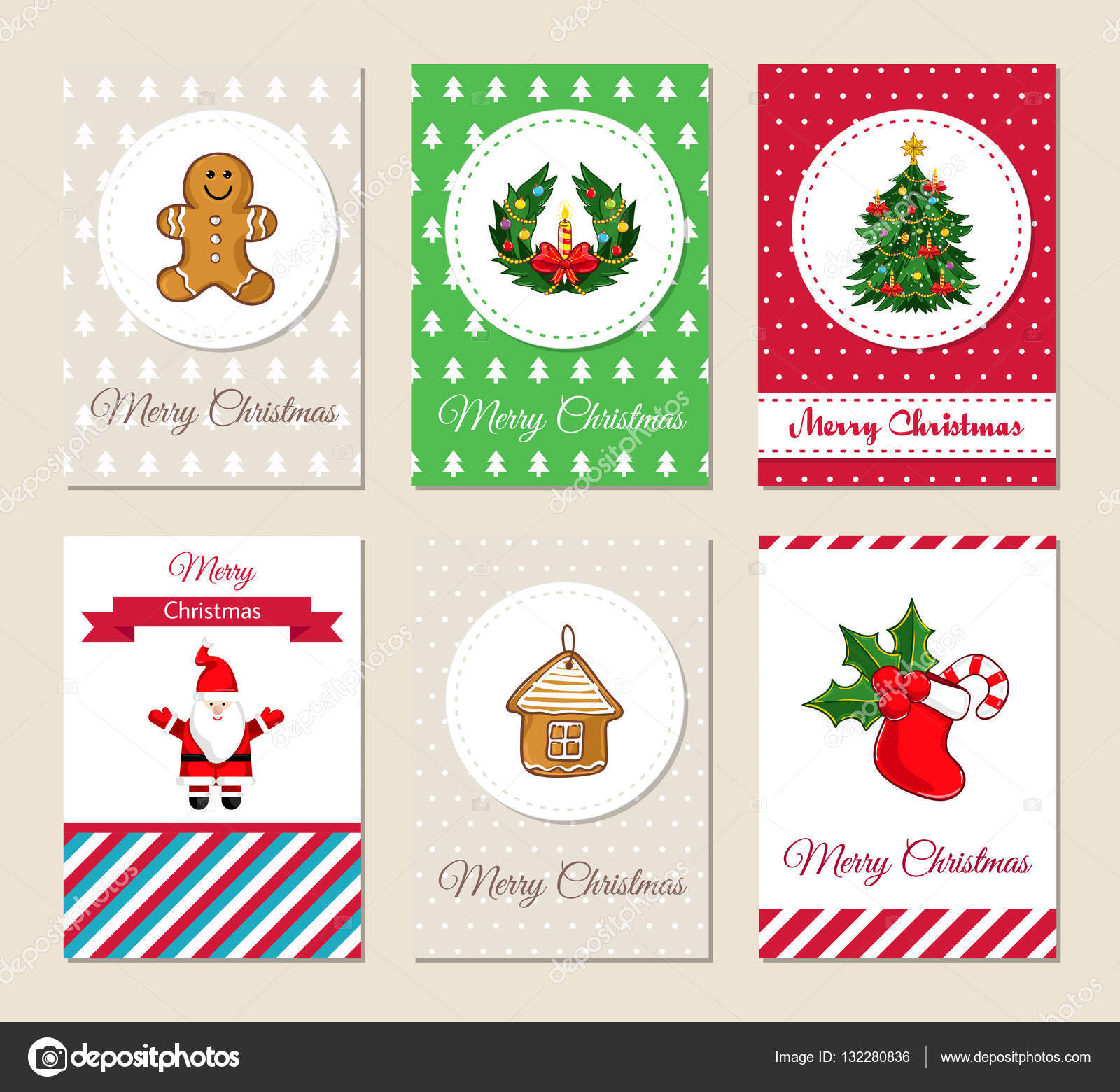 christmas greeting cards and invitations set stock vector