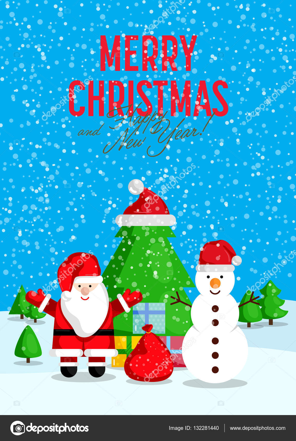 Merry christmas and happy new year greeting card stock vector santa with sack of gifts and snowman with presents near christmas tree during snowfall vector merry christmas and happy new year greeting card m4hsunfo