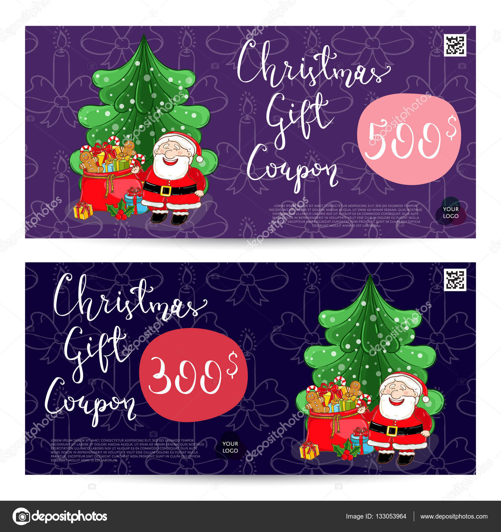 Christmas Gift Voucher Template. Gift Coupon With Xmas Attributes And  Prepaid Sum. Santa, Gifts, Christmas Tree, Gingerbread Cookie Cartoon  Vectors.