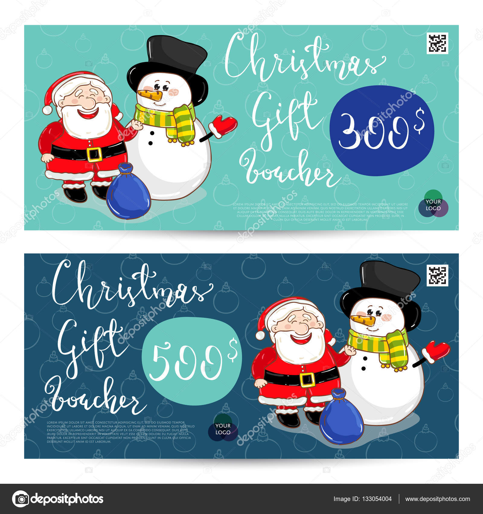 christmas gift voucher with prepaid sum template stock vector