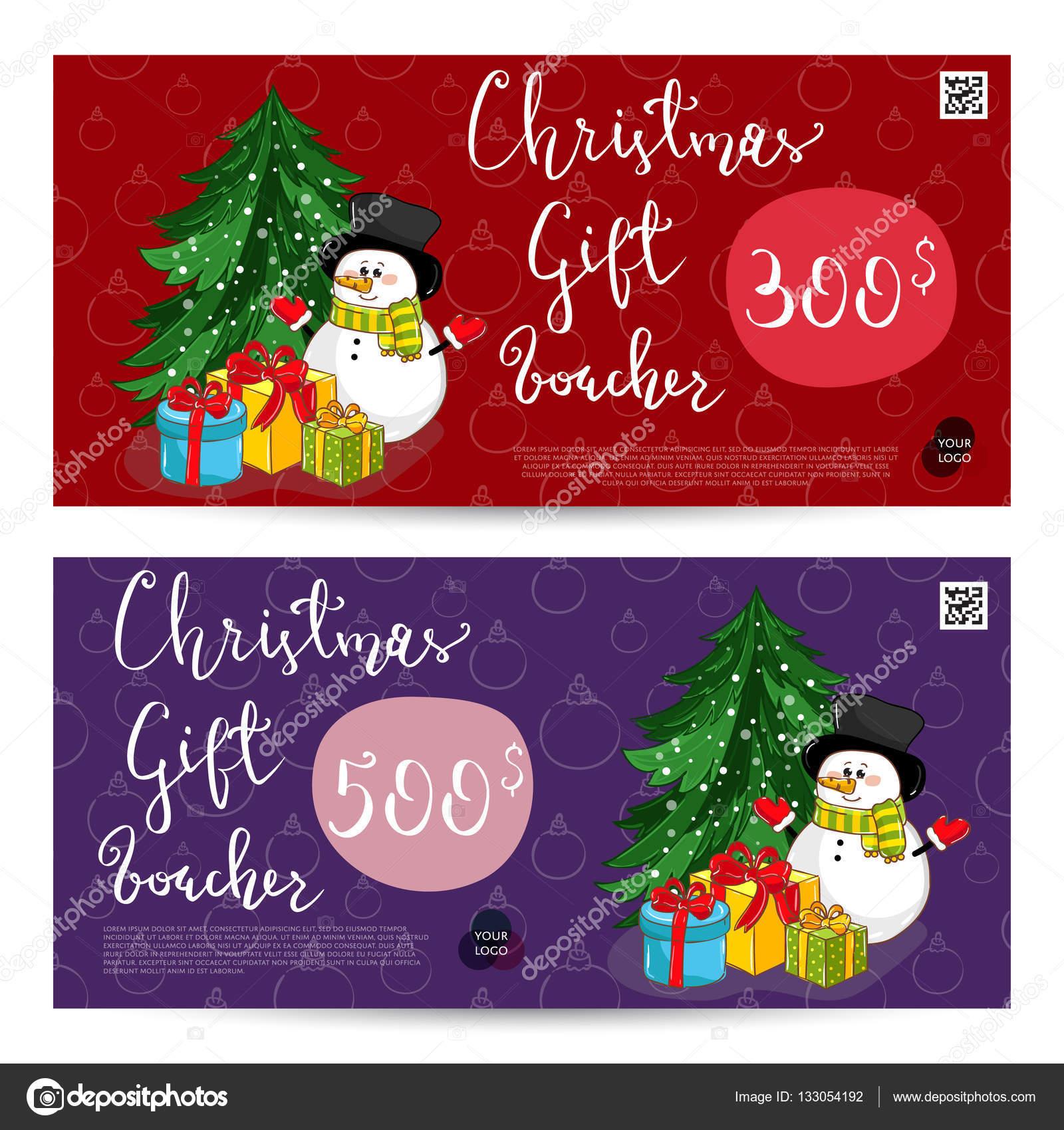 Weihnachtsgeschenk-Gutschein mit Prepaid-Summe Vorlage — Stockvektor ...