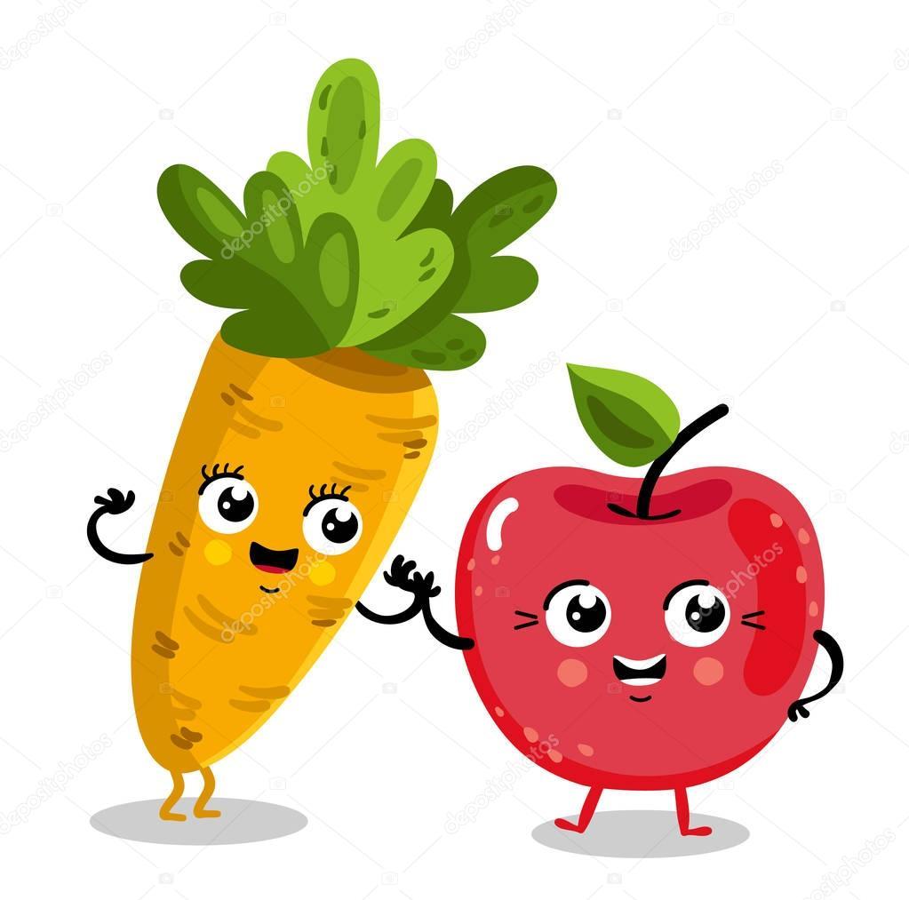 Personnages de dessin animé drôle fruits et légumes