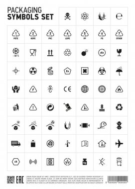 Packaging symbols set icon.