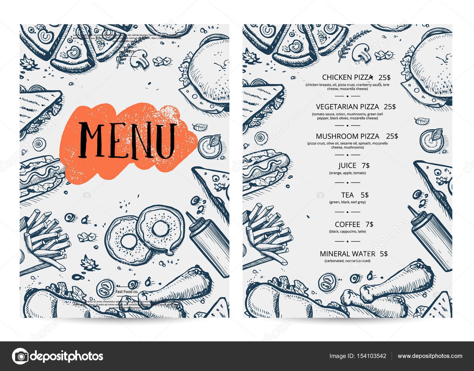 Restaurant Speisekarte hand gezeichnete design — Stockvektor ...
