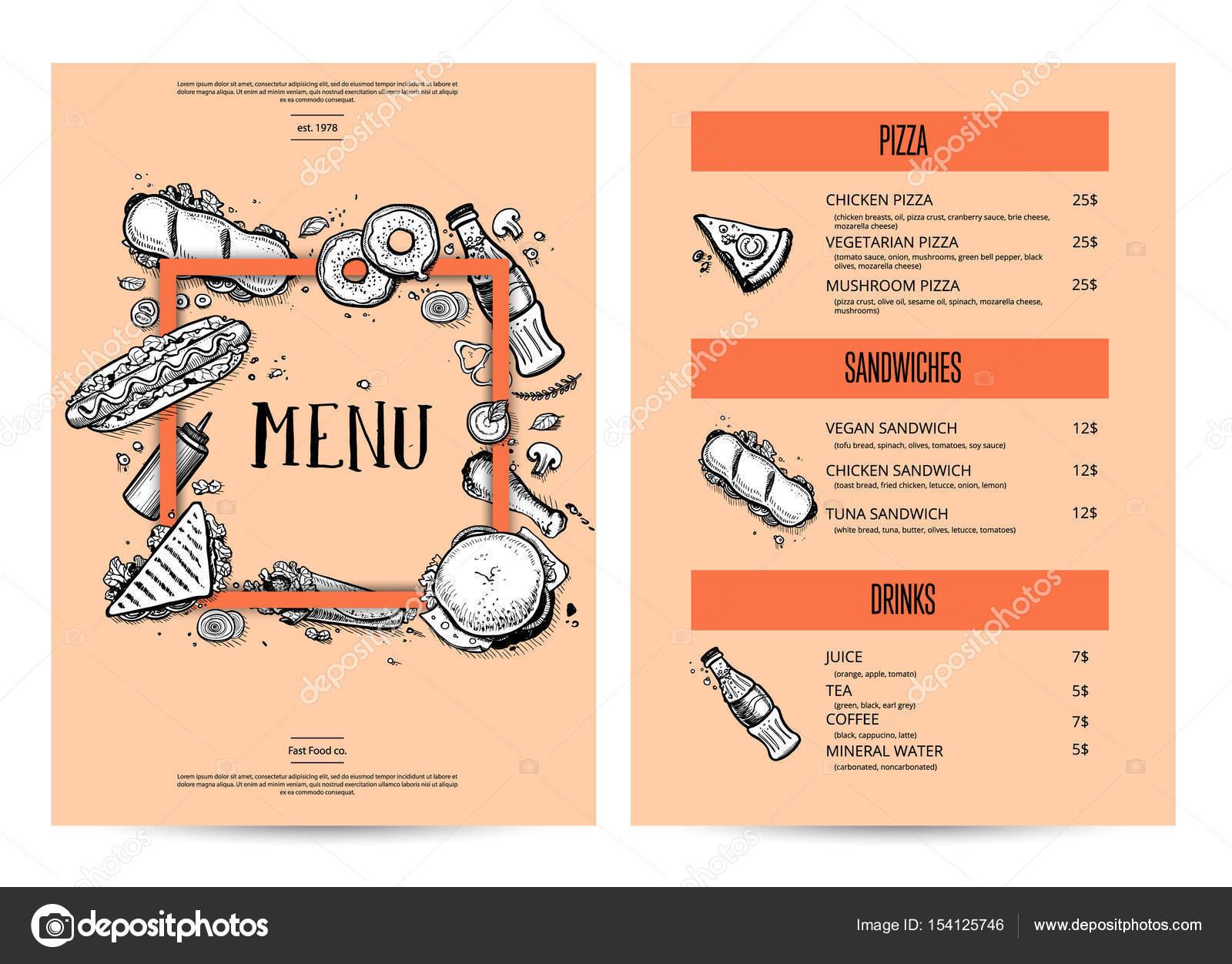 Menú de cocina creativa vintage con gráfico dibujado mano — Archivo ...