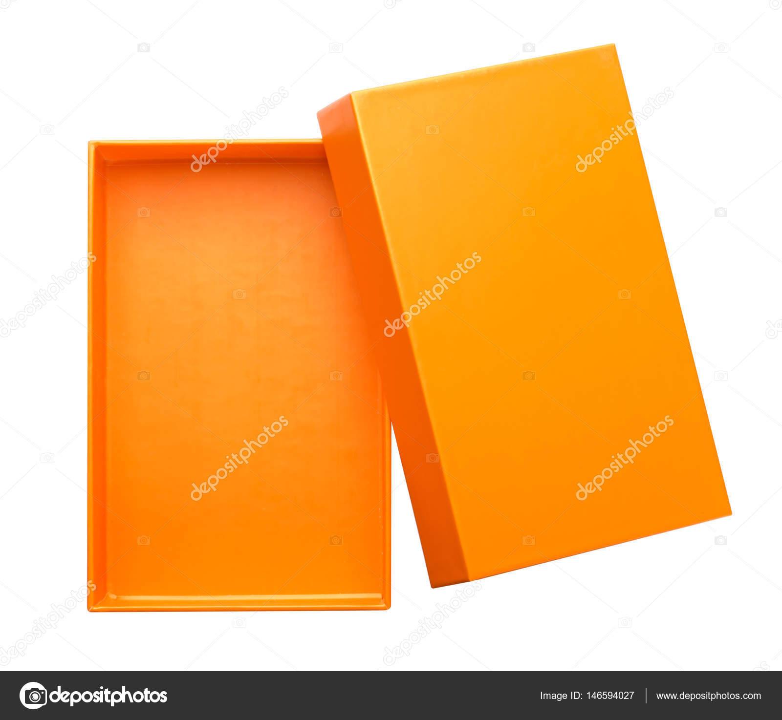 Open naranja caja de cartón maqueta hasta aislada sobre fondo blanco ...