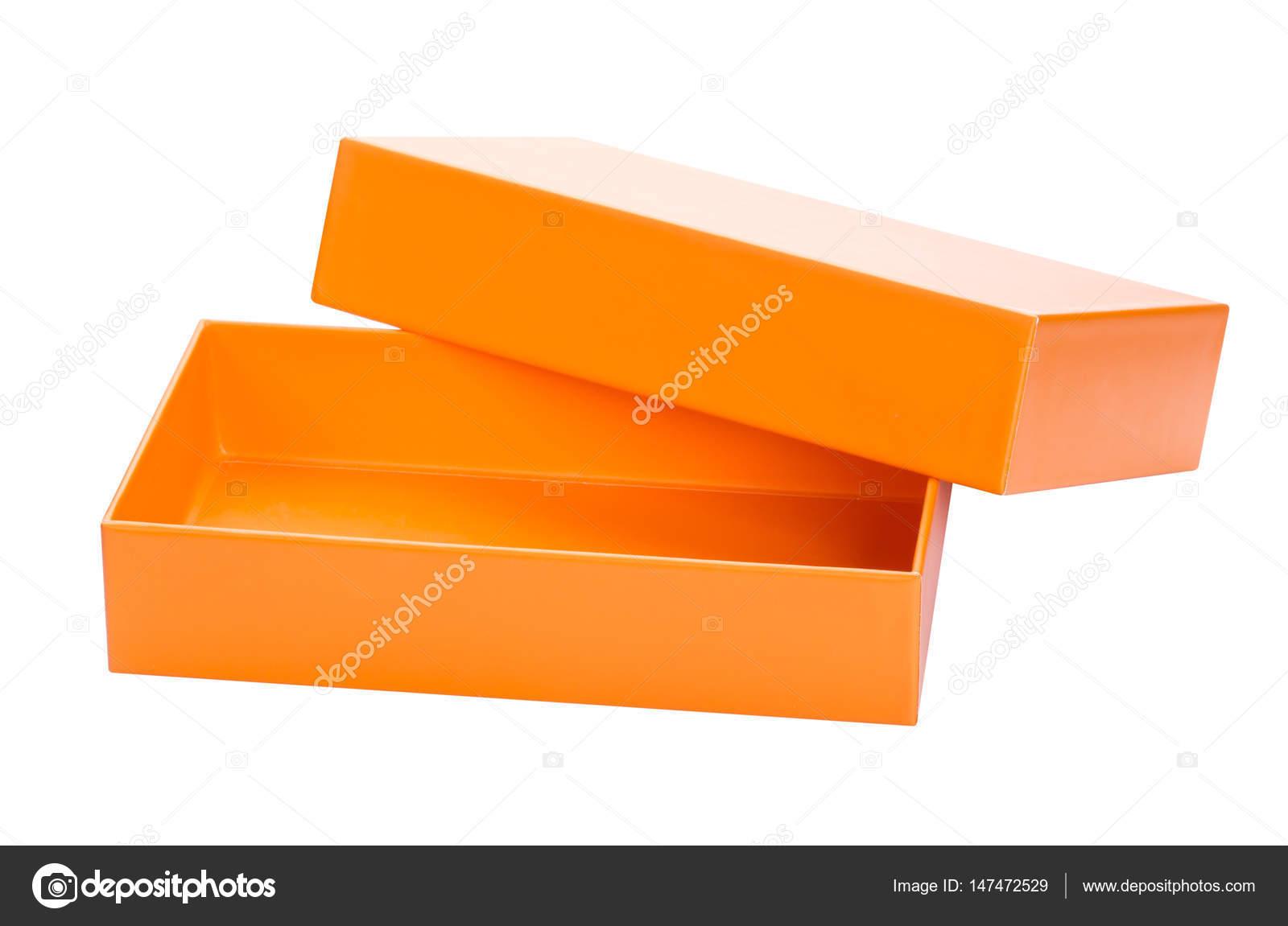 Caja aislada. Open naranja caja de cartón maqueta hasta aislada ...
