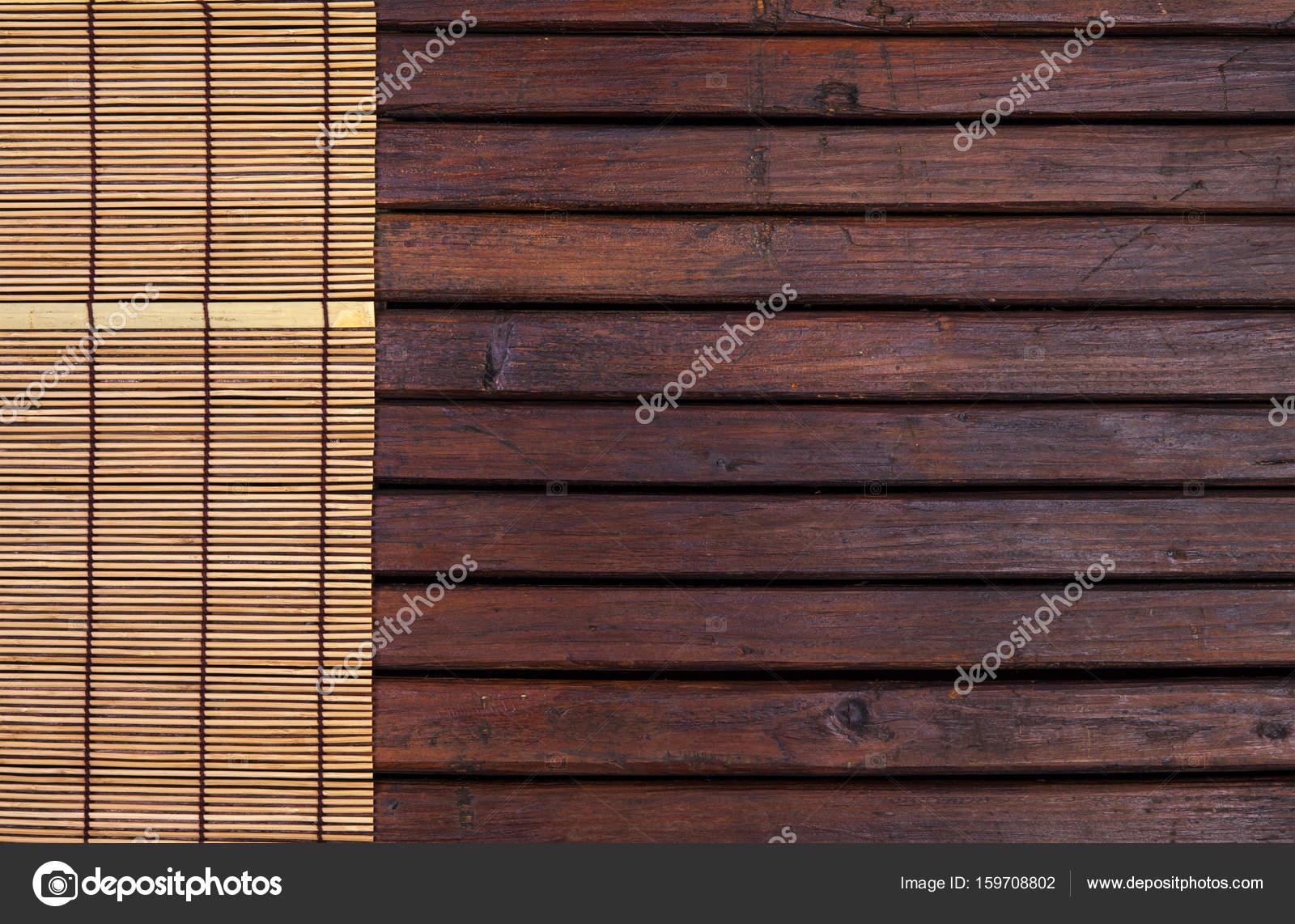 Bambusmatte Fur Sushi Auf Holzernen Hintergrund Draufsicht Mit
