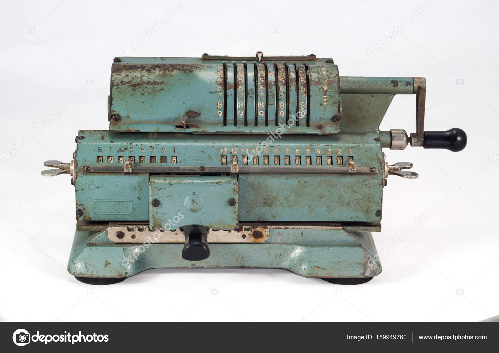 Old soviet mechanical calculator adding machine — Stock