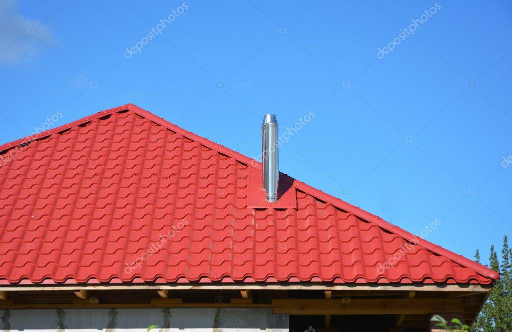Nuevo Metal Rojo Teja Con Exterior De Construcci N De