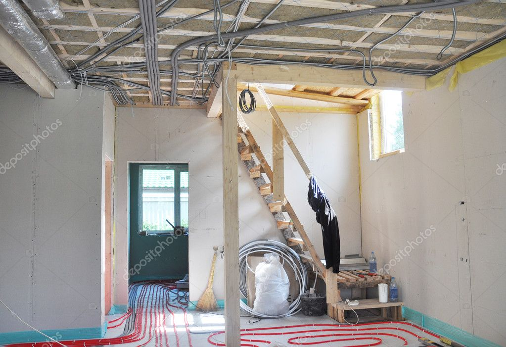 Water Floor Heating System, Interior Walls Insulation And Soundproofing.  Interior Room Construction. U2014