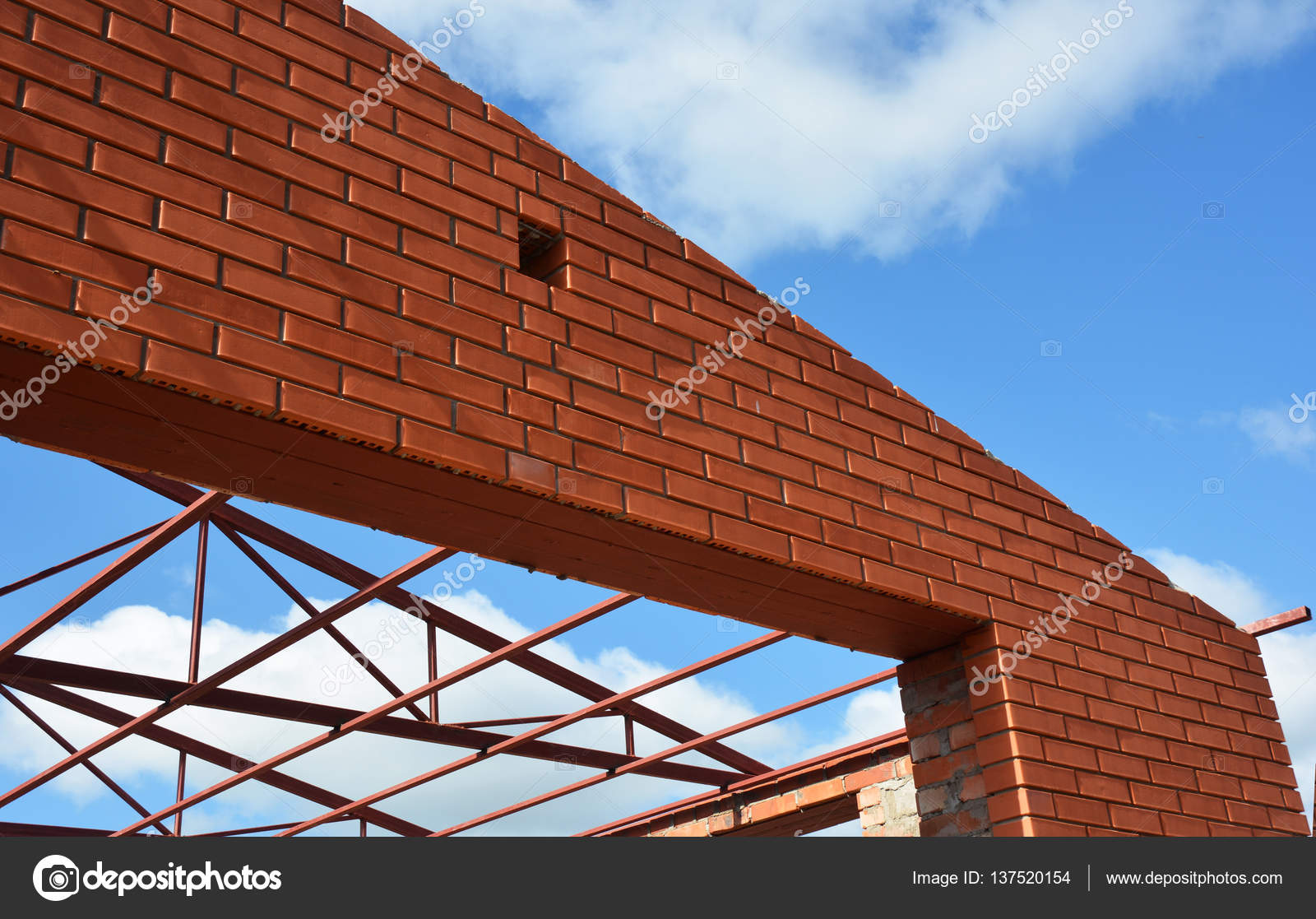 Steel roof trusses details with clouds sky background for Buy roof trusses