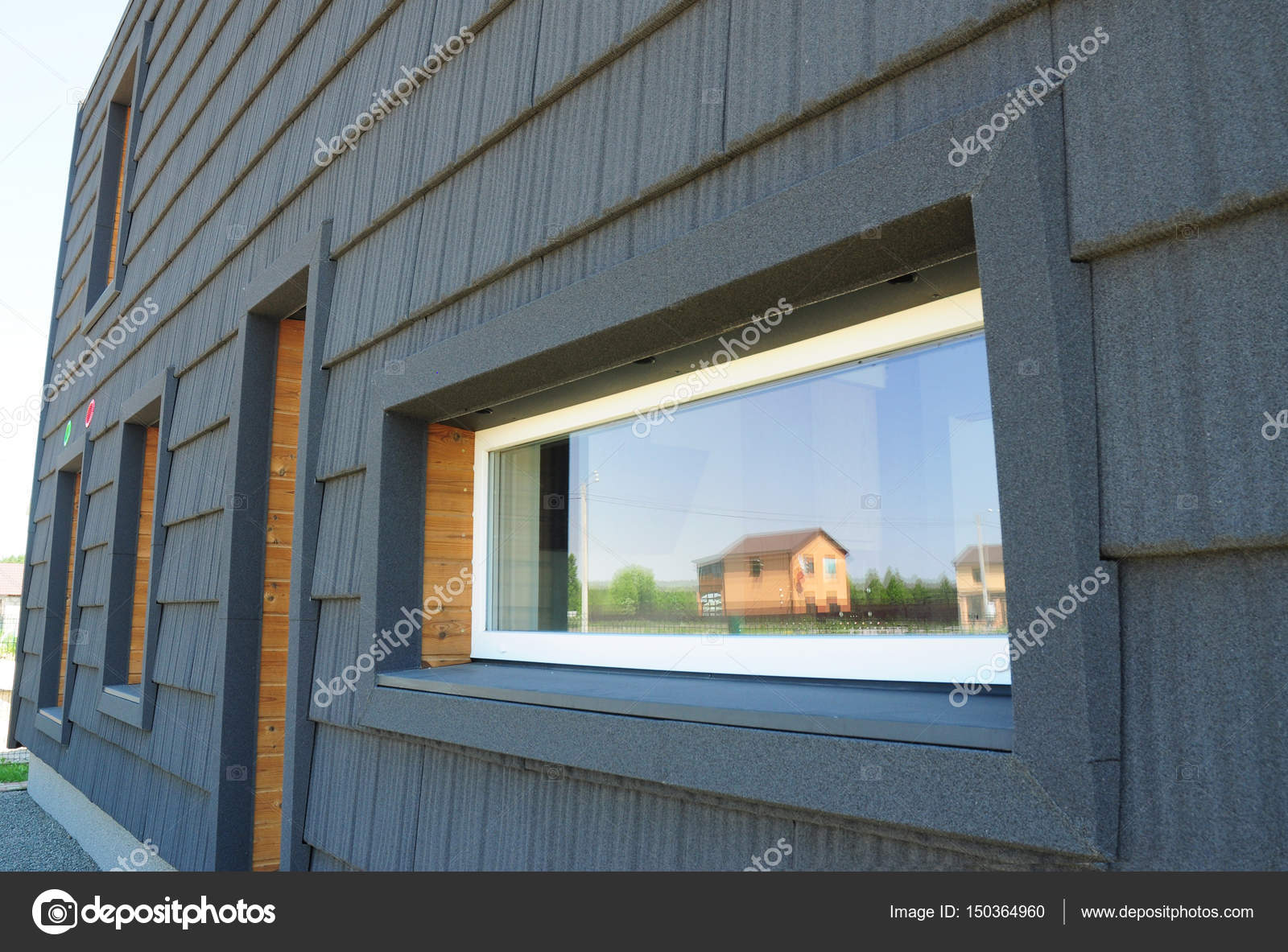Neue moderne Passivhaus Energieeffizienz Fassade Wand. Passivhaus ...