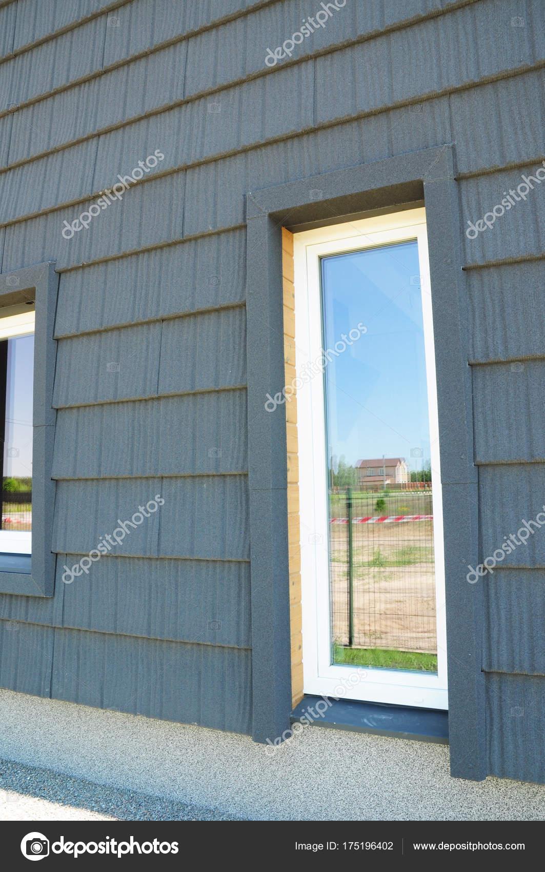 Neue moderne Passivhaus Energieeffizienz Fassade Wand mit ...