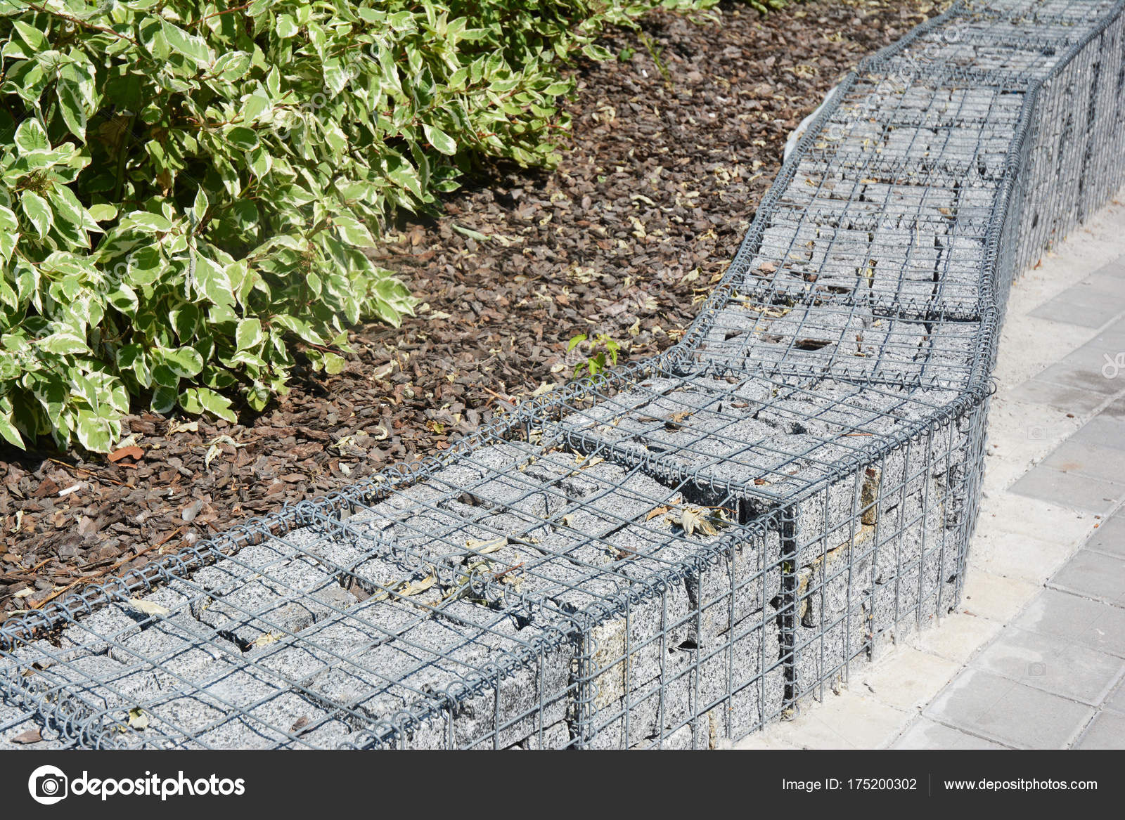 Modern Gabion fence with stones in wire mesh. — Stock Photo ...