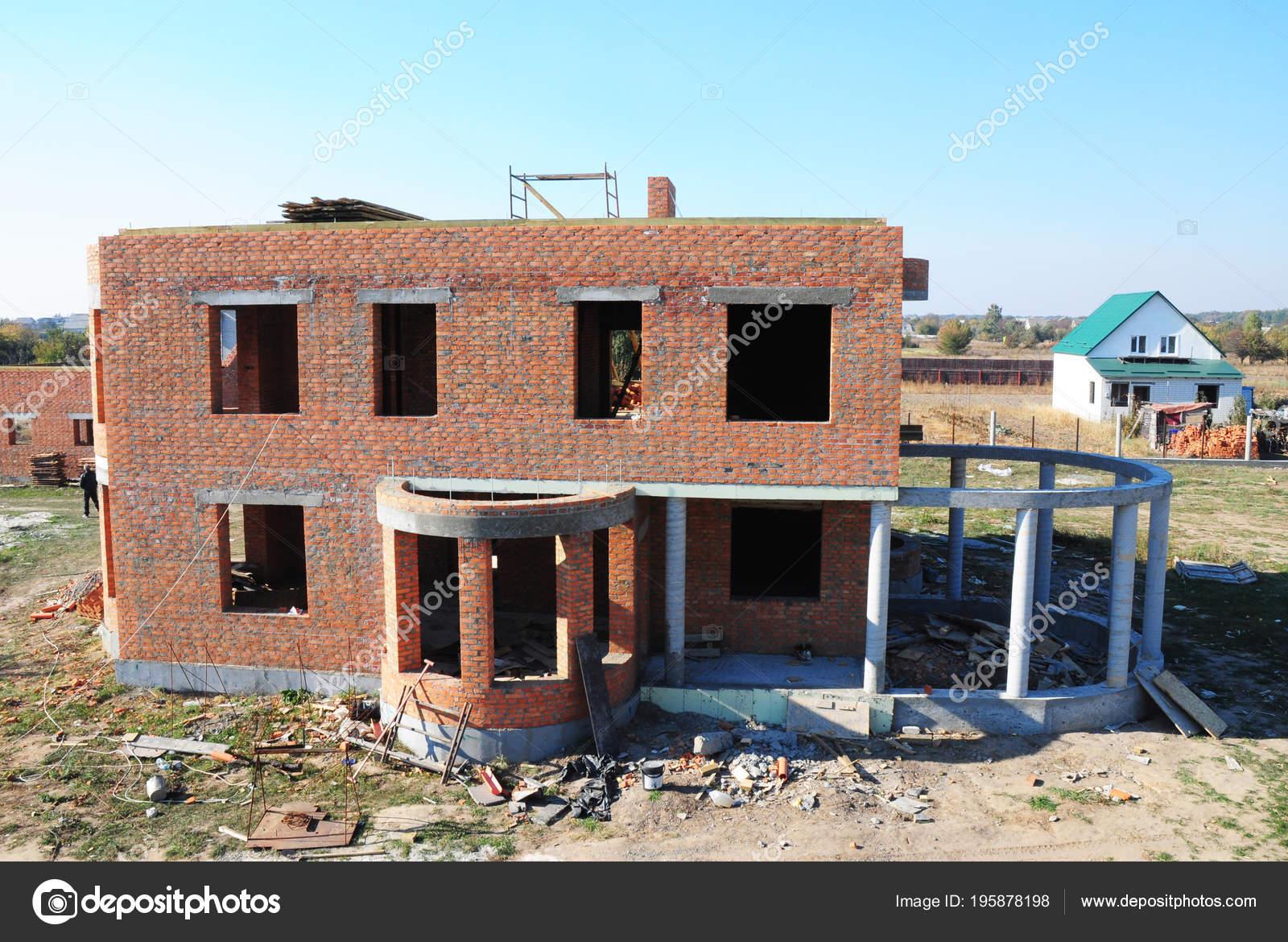 Wohn Baustein Haus Bau Mit Spalte Und Beton Rahmen Für — Stockfoto ...