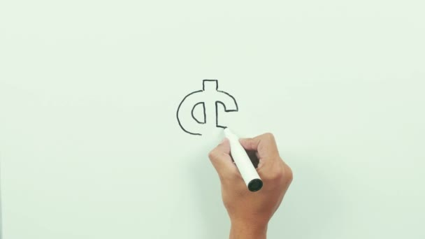 Drawing a dollar sign. Black marker on whiteboard