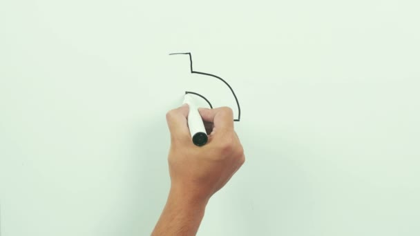Drawing a dollar sign with down arrow. Black marker on whiteboard