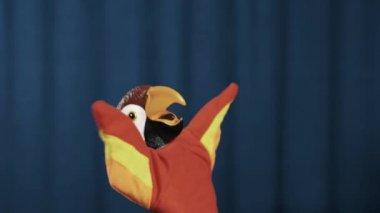 Papoušek maňáska třením a rozšířit ruce, mávali na modrém pozadí