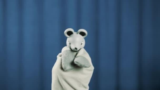 Roztomilá šedá myš maňáska objeví na scéně pozdrav publikum modré pozadí