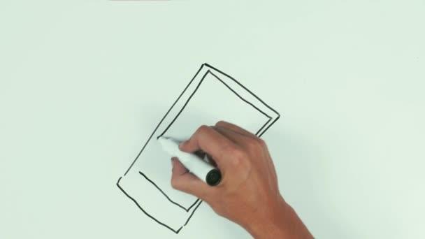 Az ember viszont a sebesség felhívni a smartphone, tábla fekete filctoll segítségével, és törölje