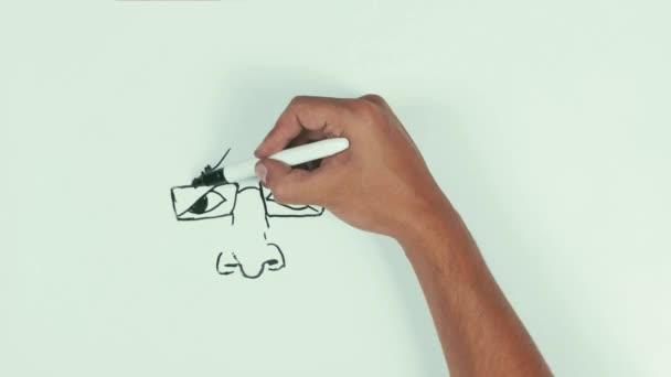 Muž rychlost kreslení Bašára al Asada tváře karikaturu s černou značkou na tabuli