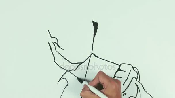 Člověk kreslit vladimir putin tváře karikaturu perem černý Fix na tabule