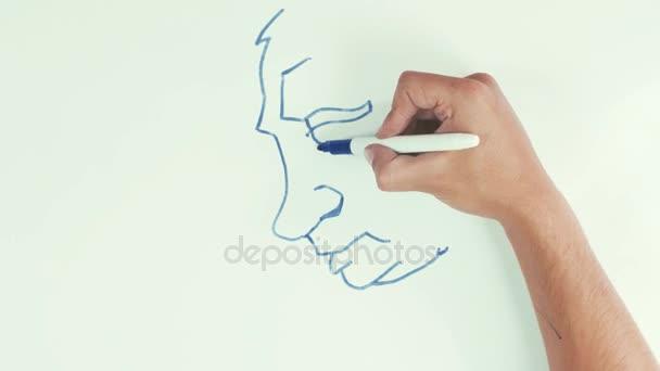 Muž rychlost kreslení vladimir putin tváře karikaturu s modrou značku pera na tabuli