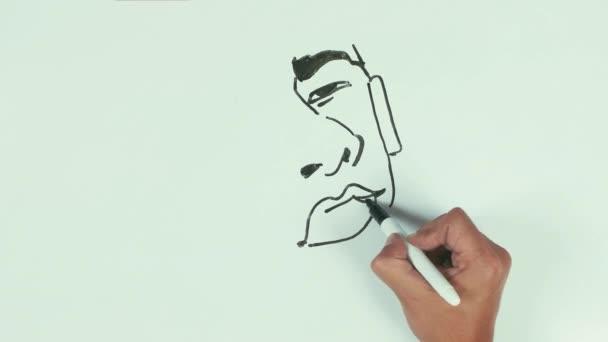Muž rychlost nakreslit karikaturu tvář barack obama s černou značkou na tabuli