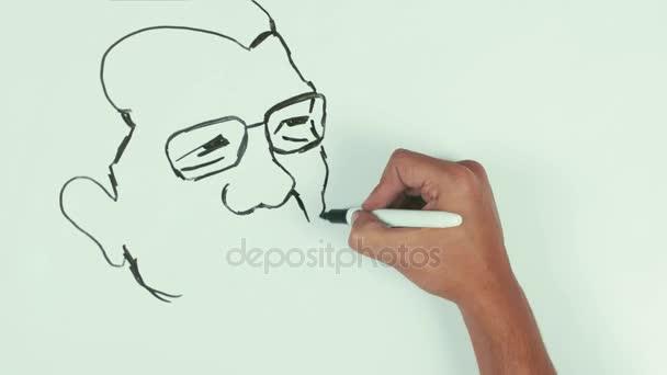 Muž rychlost kreslit karikatury tvář Yoichi Miyazawa s černý Fix na tabuli