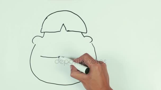 Man speed draw rasist asian face caricature with black marker on whiteboard