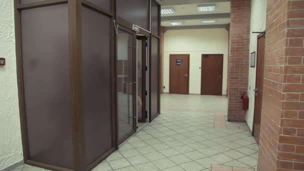 Pretty Attractive Woman Open Glass Dor And Walks Into Office