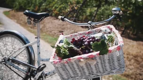 Wicked koš s révy a hrozny na kole na silnici poblíž Vinarna