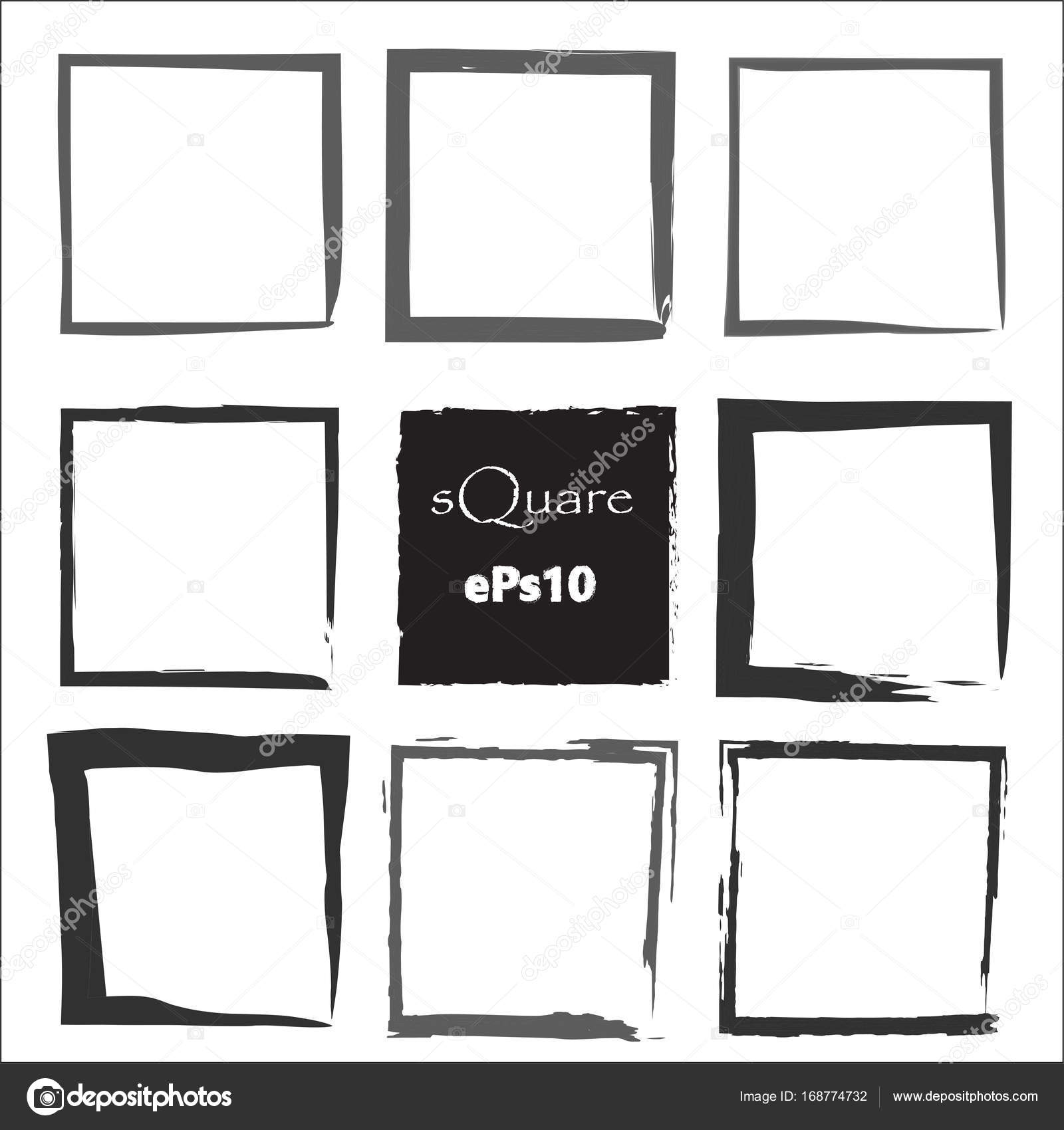 Set of empty scribble square frame, vector design elements, 9 square ...