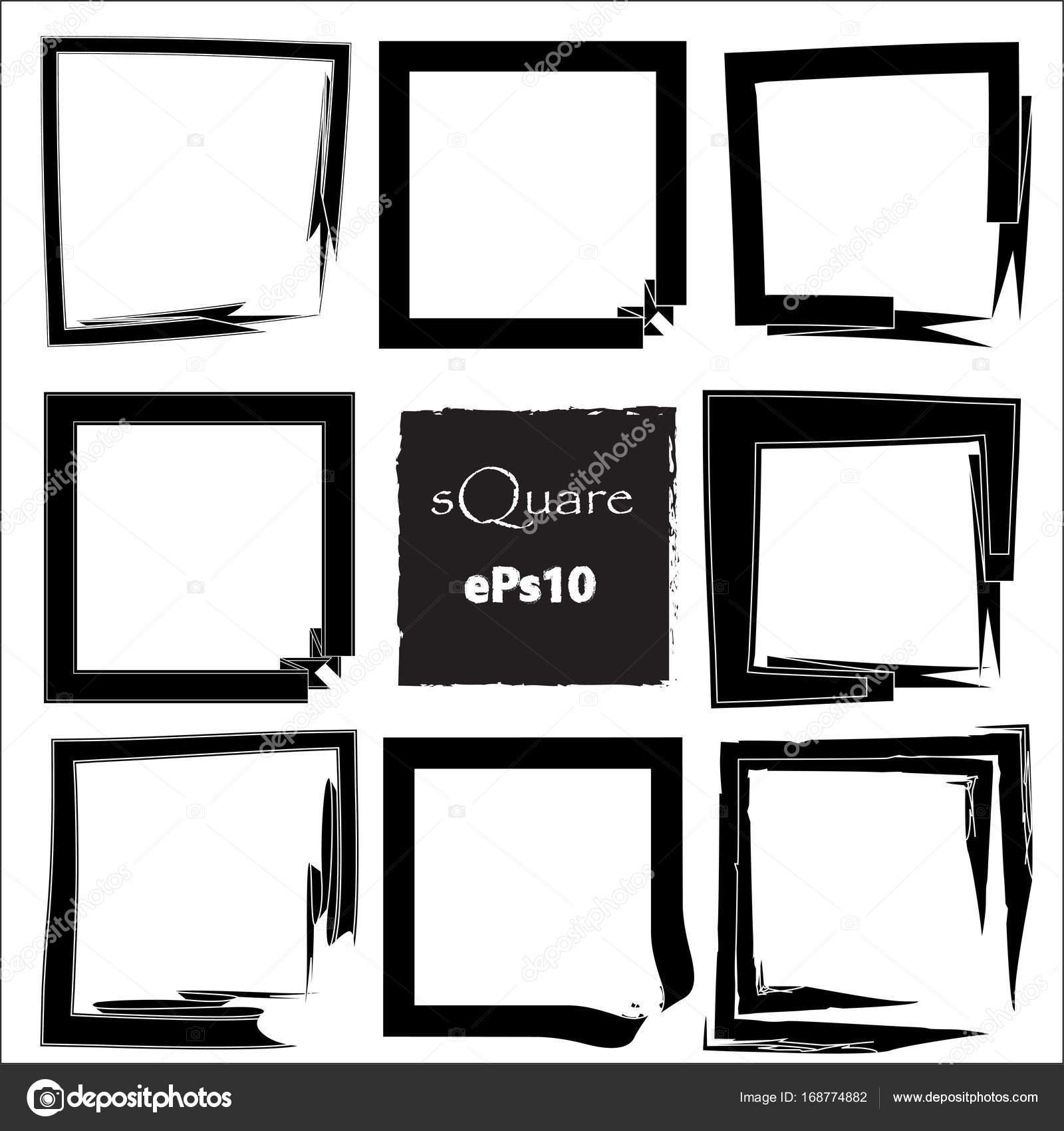 Set voor lege scribble vierkante frame, vector designelementen, 9 ...