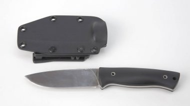 knife for camping and hunting in a plastic case on a white backg