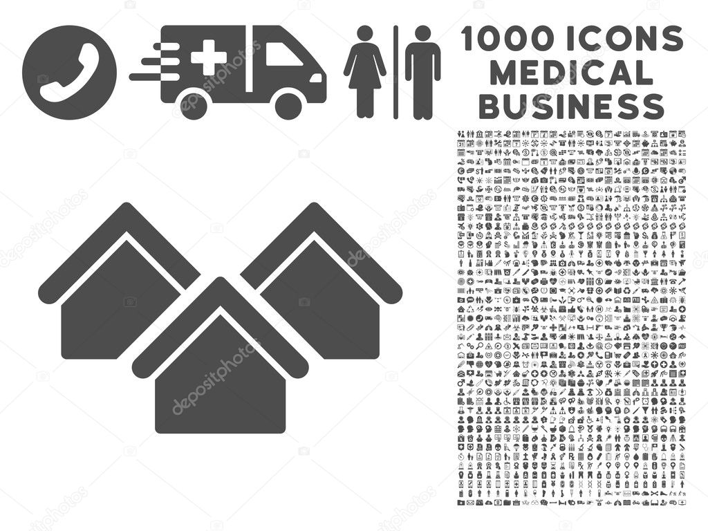 Real Estate Icon With 1000 Medical Business Symbols