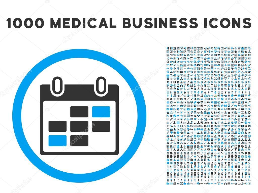 Calendar Days Icon.Calendar Days Icon With 1000 Medical Business Symbols Stock Vector