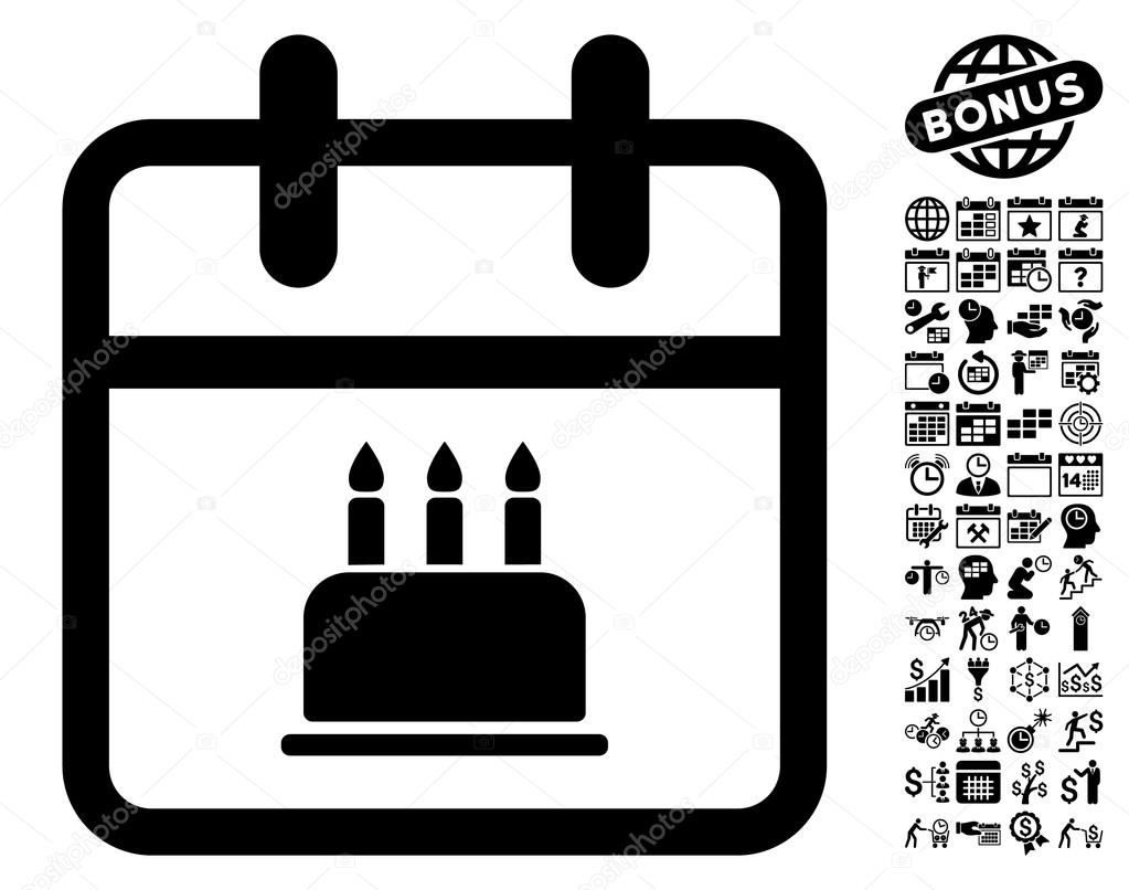 Calendar Pages Vector : Birthday cake calendar page flat vector icon with bonus