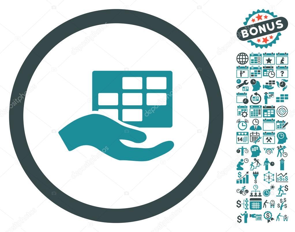 Service Schedule Hand Flat Vector Icon With Bonus Stock Vector