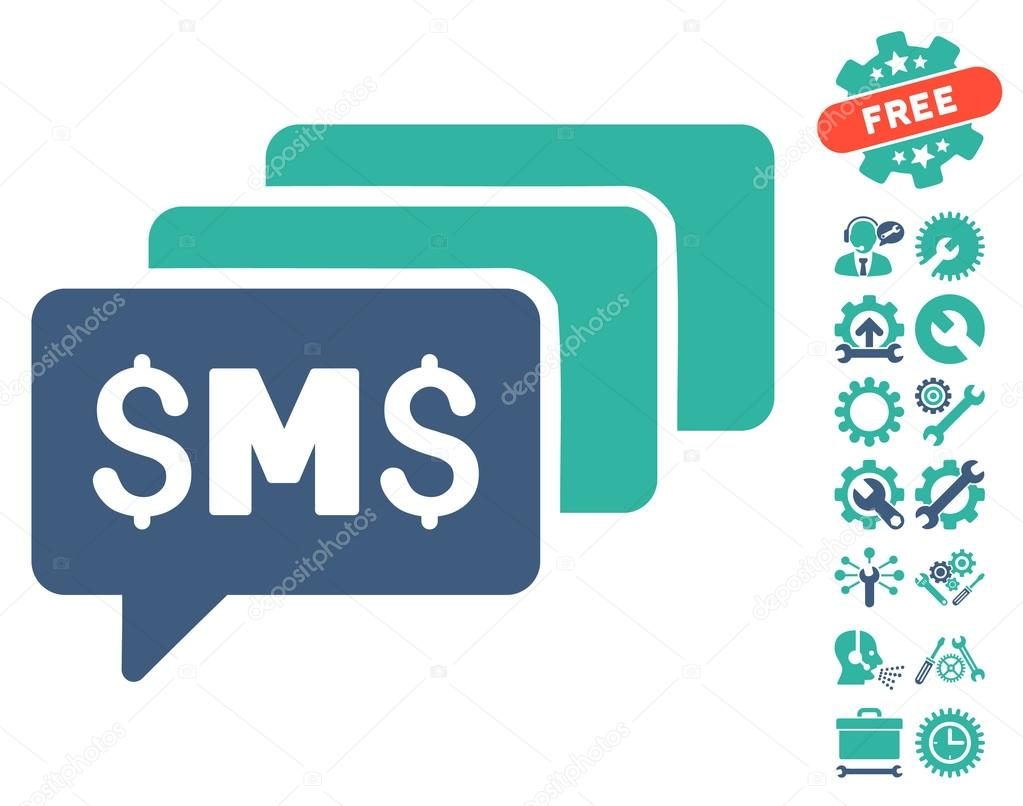 Sms Messages Flat Vector Icon With Tools Bonus