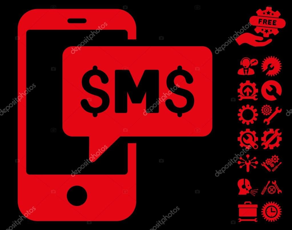 Phone Sms Flat Vector Icon With Tools Bonus Stock Vector Ahasoft
