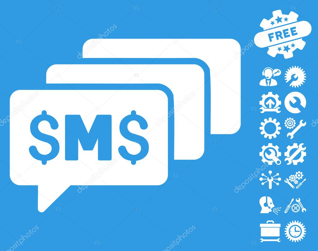 Sms messages flat vector icon with tools bonus stock vector sms messages pictograph with bonus tools pictograph collection vector illustration style is flat iconic symbols white color blue background biocorpaavc Images
